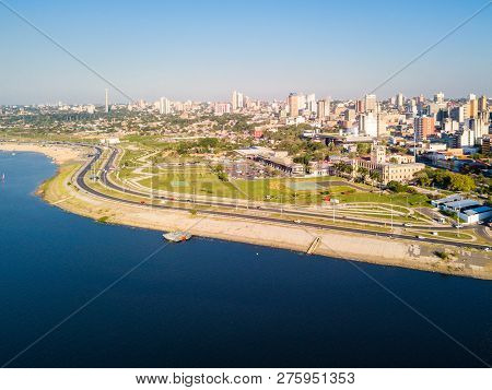 Panoramic View Of Skyscrapers Skyline Of Latin American Capital Of Asuncion City, Paraguay. Embankme