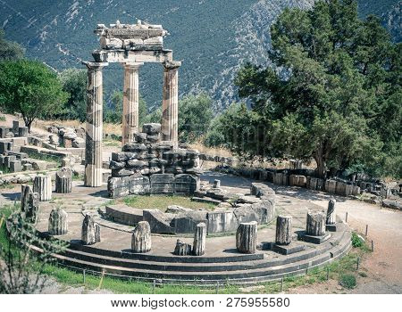 The Tholos Or The Tholos Of Delphi At The Delphi Sanctuary Of Athena Pronoia Constructed Between 380