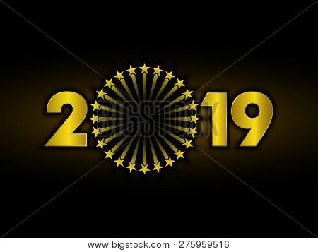 New Year 2019, 2019 New Years Image Firework, 2019 3d Illustration, Happy New Year 2019, Gold 3d 201