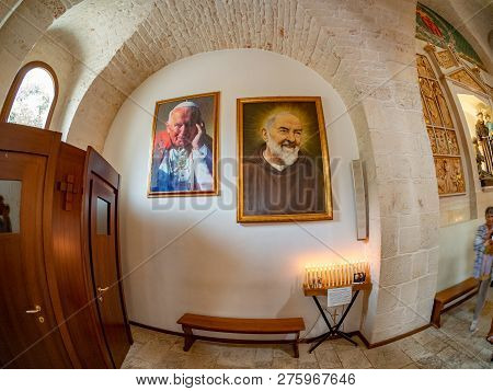 Alberobello, Apulia, Italy - August 16, 2018: Famous Pictures On The Wall Inside Trulli Church, With
