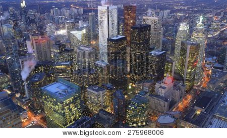 An Aerial Of Toronto, Canada City Center After Dark