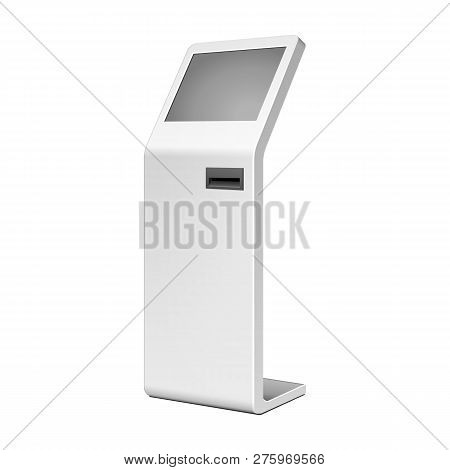 Outdoor White. Payment Terminal. Atm, Pos, Poi Advertising Stand On White Background. 3d Mock Up, Te