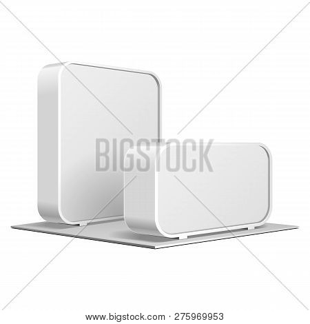 Rounded Pos Poi Blank Empty Advertising Retail Stand Stall Bar Display, Banner. On White Background
