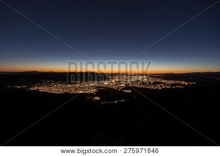 Night hilltop view of suburban Simi Valley from Rocky Peak Park near Los Angeles in Ventura County, California.