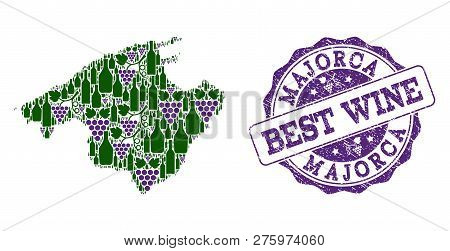 Vector Collage Of Grape Wine Map Of Majorca And Grunge Seal Stamp For Best Wine. Map Of Majorca Coll