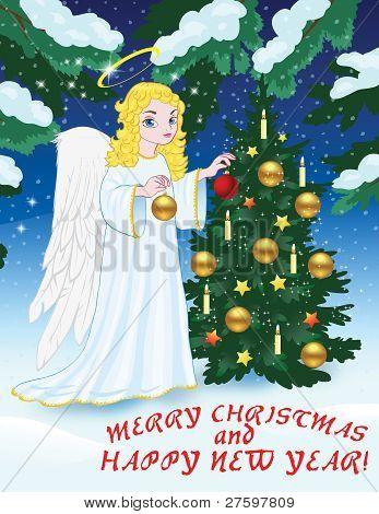 Christmas greetingswith angelandChristmas tree