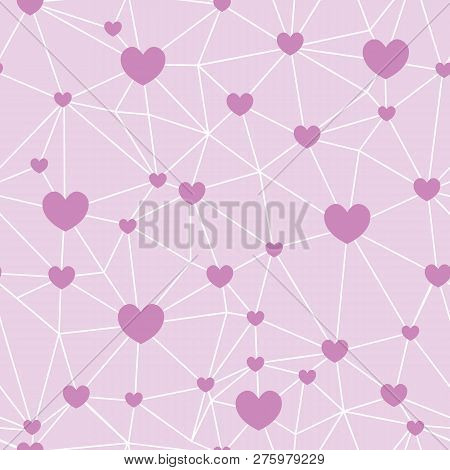 Pink Network Of Hearts Seamless Repeat Pattern. Great For Valentines Day Or Wedding Invitations, Car