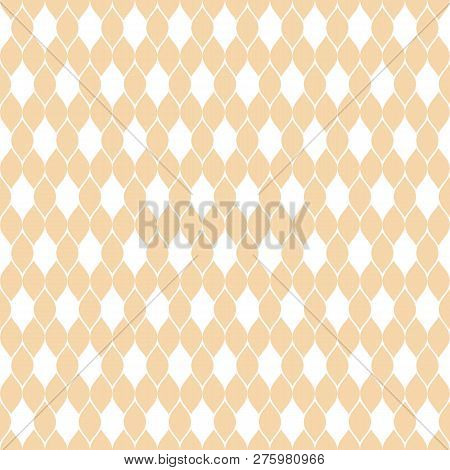 Vector Geometric Mesh Seamless Pattern. Delicate Abstract Ornament In Light Yellow And White Colors.