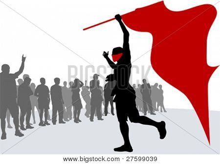 Vector drawing crowds and revolution flag