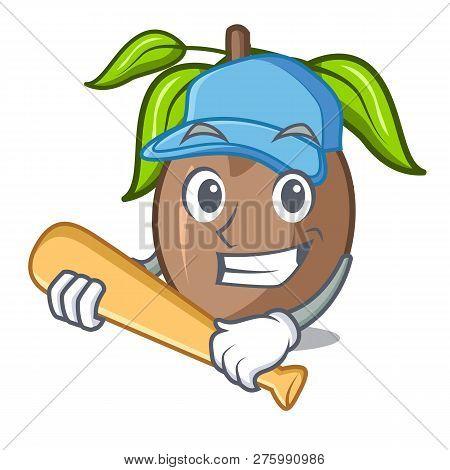 Playing Baseball Sapodilla Fruit On The Character Bowl