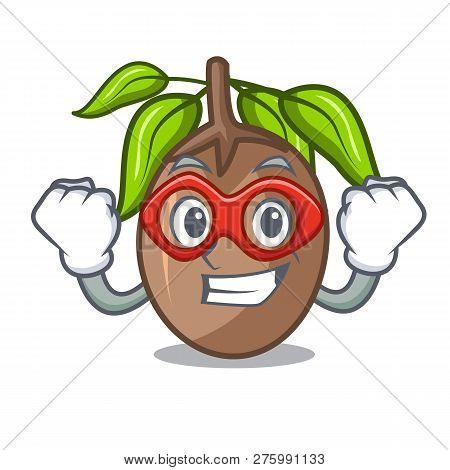 Super Hero Sapodilla Fruit Isolated On The Mascot