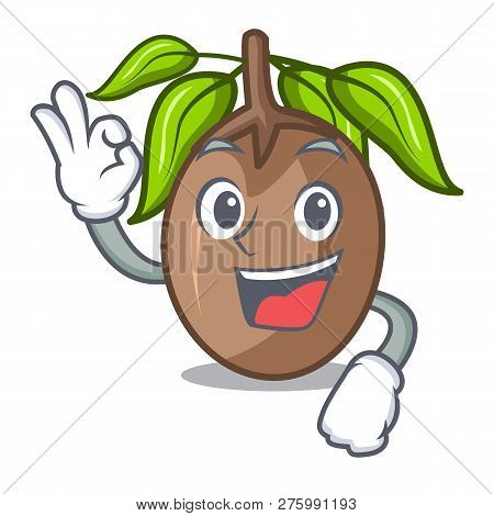 Okay Sapodilla Fruit Isolated On The Mascot