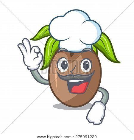 Chef Sapodilla Fruit Isolated On The Mascot