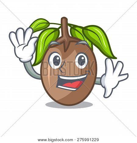 Waving Sapodilla Fruit Isolated On The Mascot