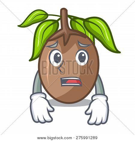 Afraid Sapodilla Fruit Cut In Shape Cartoon