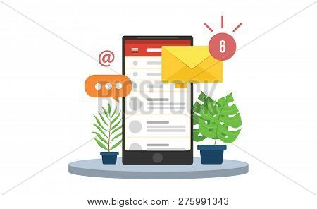Email Mobile Notifications With Smartphone And Envelope Icons And Sign Of Notifications Inbox Vector