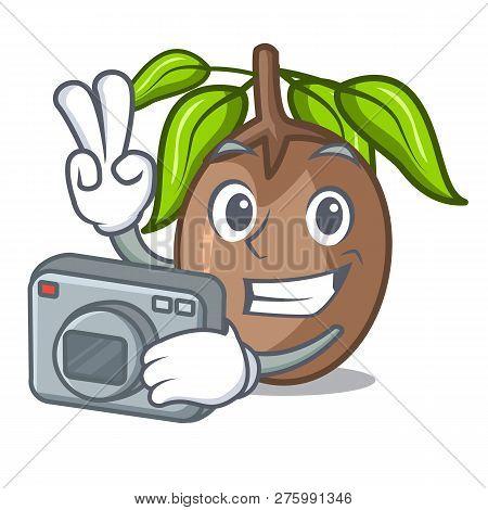 Photographer Sapodilla Fruit Cut In Shape Cartoon