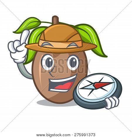 Explorer Sapodilla Fruit Cut In Shape Cartoon