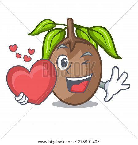 With Heart Sapodilla Fruit Cut In Shape Cartoon