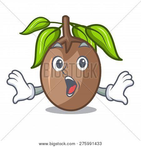 Surprised Sapodilla Fruit Cut In Shape Cartoon