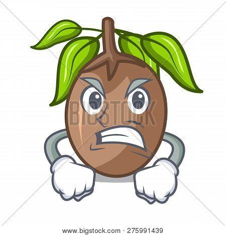 Angry Sapodilla Fruit Cut In Shape Cartoon