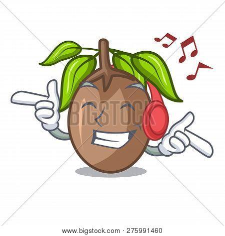 Listening Music Sapodilla Fruit Cut In Shape Cartoon