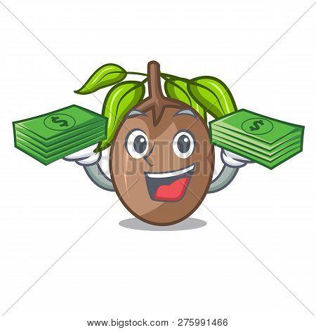 With Money Sapodilla Fruit Cut In Shape Cartoon