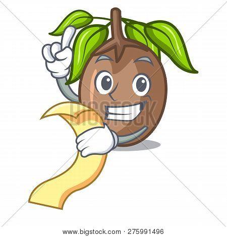 With Menu Sapodilla Fruit Cut In Shape Cartoon