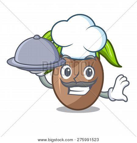 Chef With Food Sapodilla Fruit Cut In Shape Cartoon