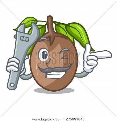 Mechanic Slice Sapodilla Fruit On Shape Cartoon