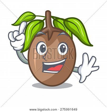 Finger Slice Sapodilla Fruit On Shape Cartoon
