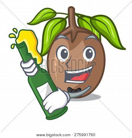 With Beer Slice Sapodilla Fruit On Shape Cartoon