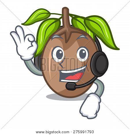 With Headphone Slice Sapodilla Fruit On Shape Cartoon