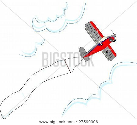 Small airplane Flies With Blank Advertising Flag