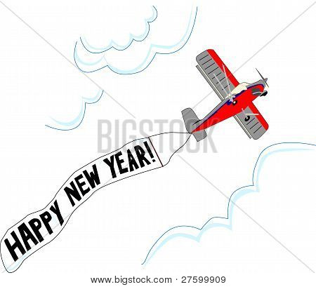 Small Airplane Flies With Happy New Year Flag