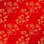 Oriental Chinese New Year cherry blossom seamless pattern background poster