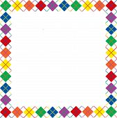 Border of bright rainbow colored argyle pattern with space for text poster