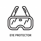 Eye protector icon isolated on white background. Eye protector icon simple sign. Eye protector icon trendy and modern symbol for graphic and web design. Eye protector icon flat vector illustration for logo, web, app, UI. poster