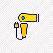 Vector illustration of hairdryer icon colored line. Beautiful travel element also can be used as blow dryer icon element. poster