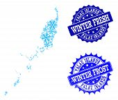 Icy map of Palau Islands and rubber stamp seals in blue colors with Winter Fresh and Winter Frost captions. Mosaic map of Palau Islands is composed with ice elements. poster