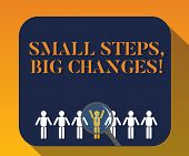 Handwriting text writing Small Steps Big Changes. Concept meaning Make little things to accomplish great goals Magnifying Glass Over Chosen Man Figure Among the Hu analysis Dummies Line Up. poster
