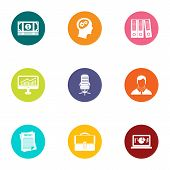 Insertion icons set. Flat set of 9 insertion icons for web isolated on white background poster