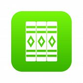 Three literary books icon digital green for any design isolated on white illustration poster