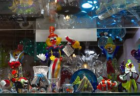 Venice, Italy - April 15, 2018: Murano Glass Artworks On Display In Shop In Island Of Murano.