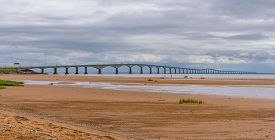 Heat Waves Distort The View Of The Long, Pei To New Brunswick, Inter Provincial Bridge In Canada.