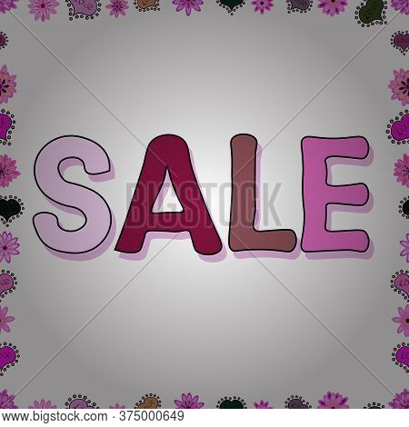 Sale Lettering In Pink, Neutral And White Colors. Collection With Style Backgrounds For Your Project