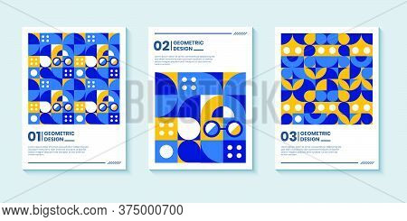 Set Of Three Abstract Retro Style Covers Backgrounds With Geometric Shape. Colorful Geometry Backgro