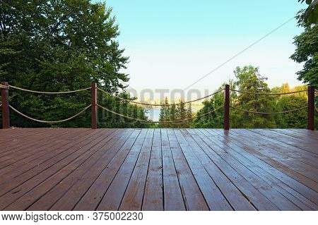 Wooden Observation Deck With Rope Fence In The Spivoche Pole Park. Kyiv's Nature Landscape. Dnipro R