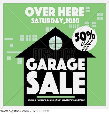 50 Percent Discount Garage Sale Square Banner, Drive Sales Concept Vector Illustration. Eps 10
