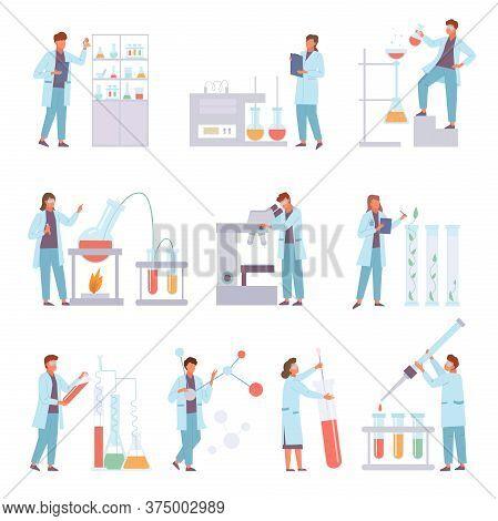 Scientists Biochemical Conduct Laboratory Experiments Set. Data Microscopy Biodistillation Titration